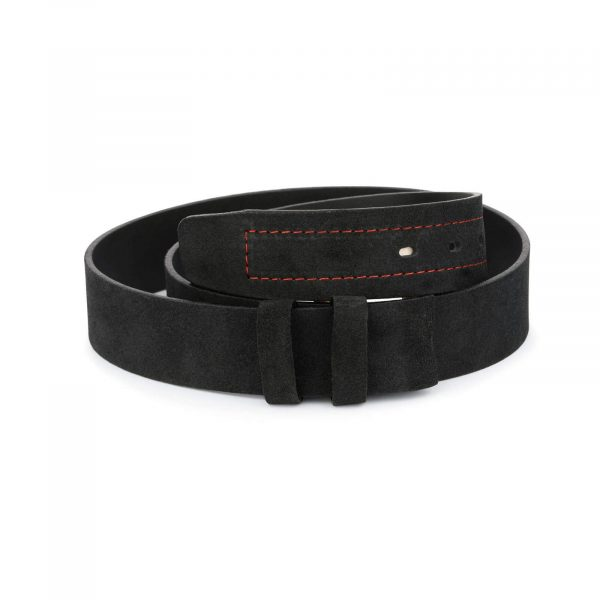mens suede belt black with red stitching 1