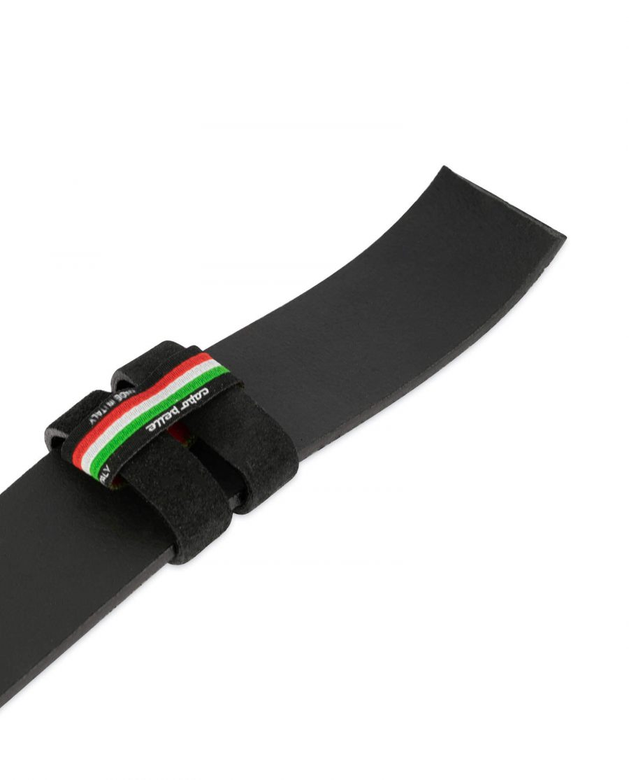 mens suede belt black with red stitching 3
