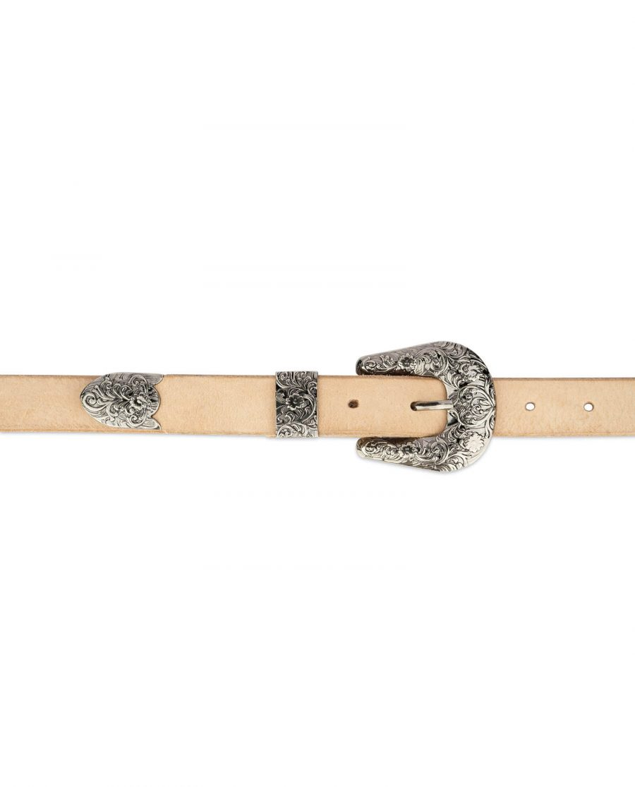 natural leather western belt with antique silver buckle 4