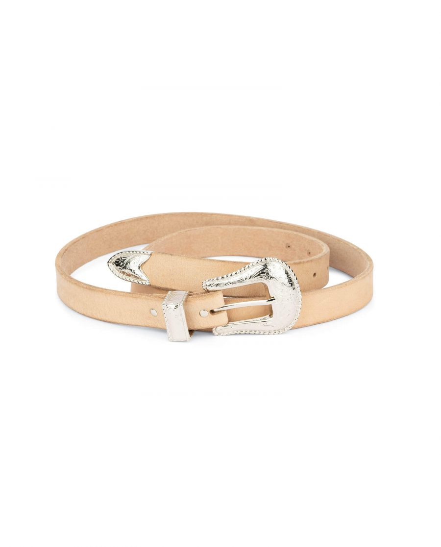 natural leather western belt with nickel buckle 1