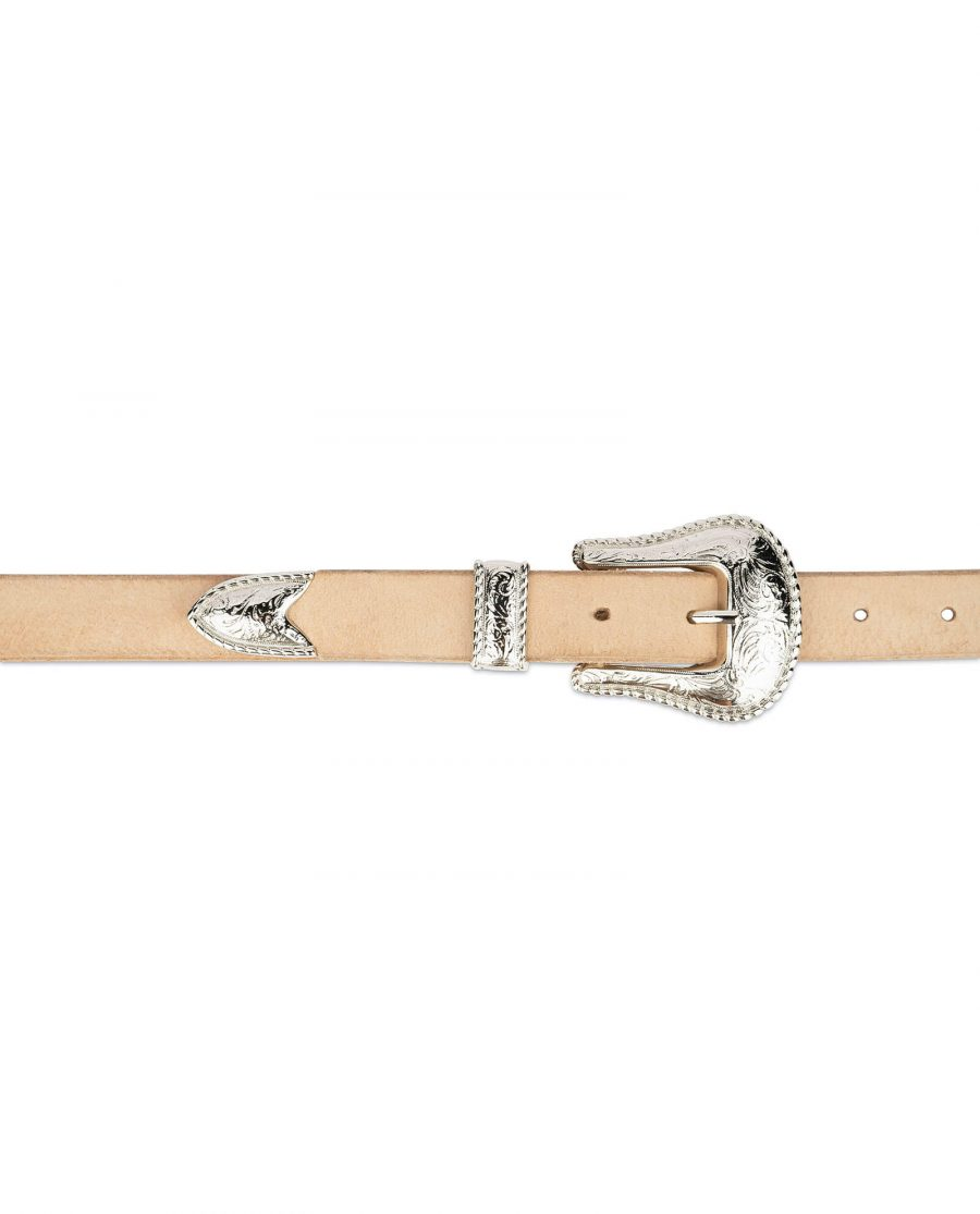 natural leather western belt with nickel buckle 2
