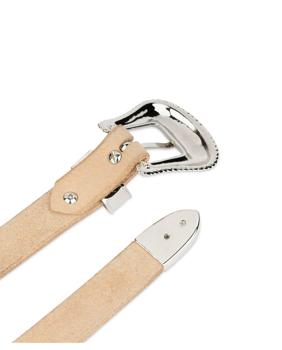 natural leather western belt with nickel buckle 4