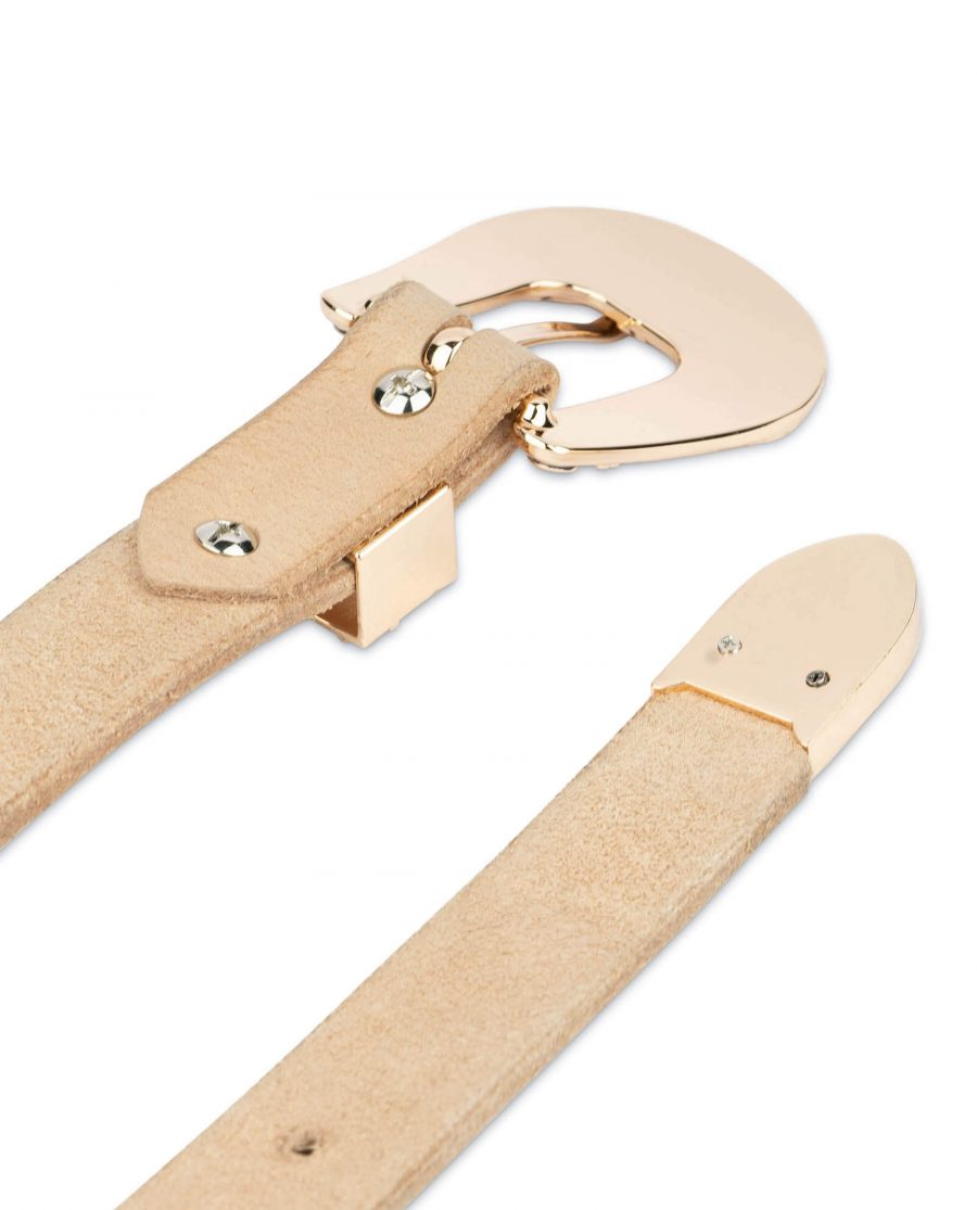 western natural full grain leather belt with gold buckle 1