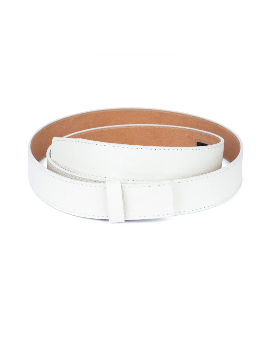white leather belt strap 35 mm 3