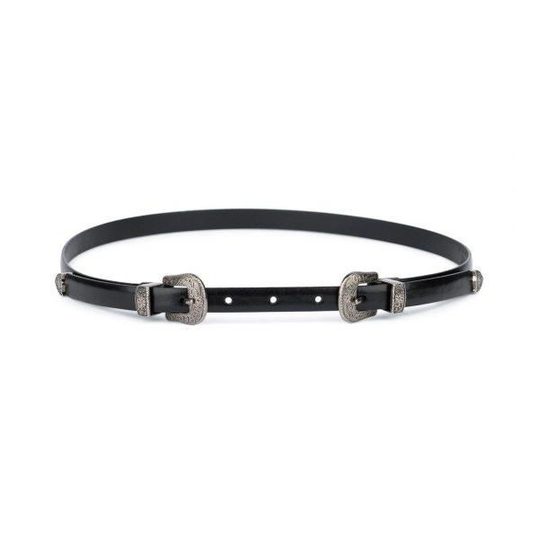 Western Belt Double Buckle Black 15 mm 1