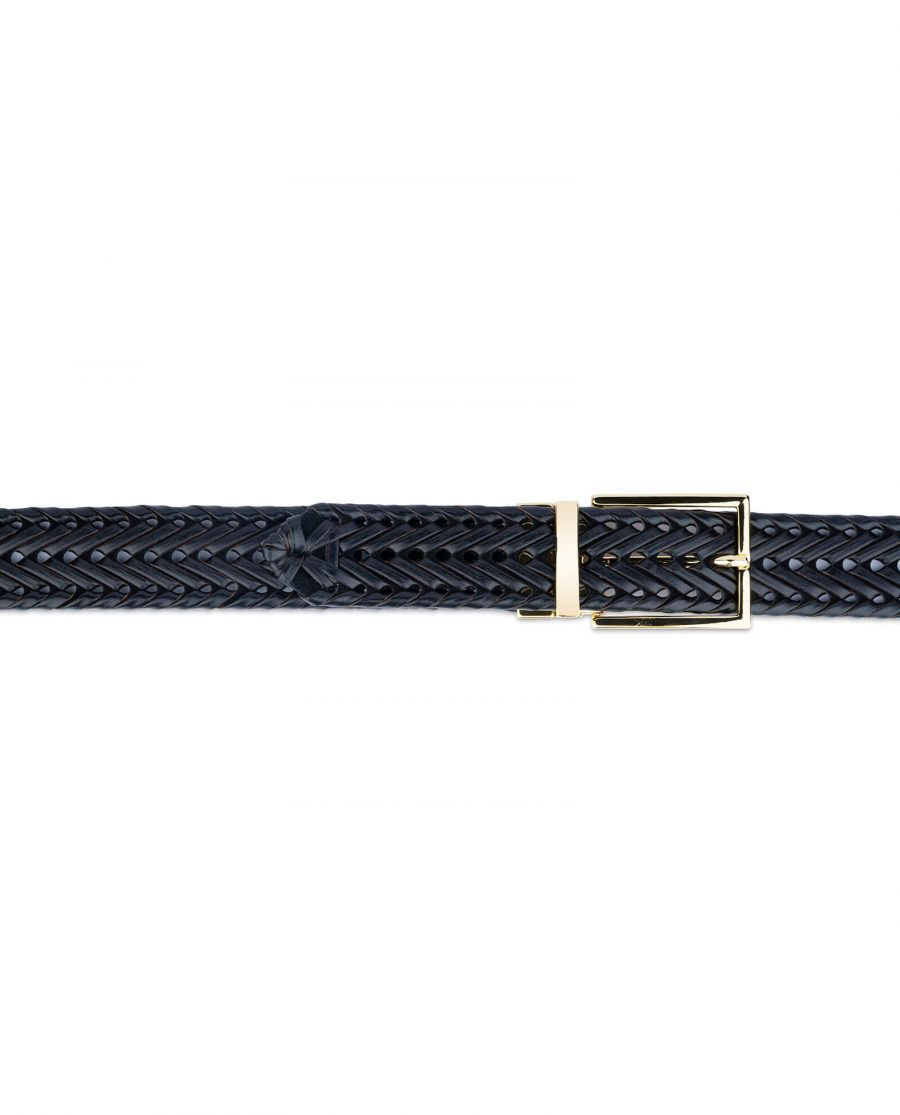 black woven mens belt with gold buckle 45usd 2