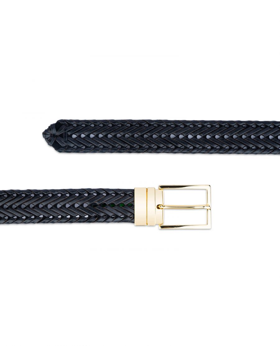 black woven mens belt with gold buckle 45usd 3