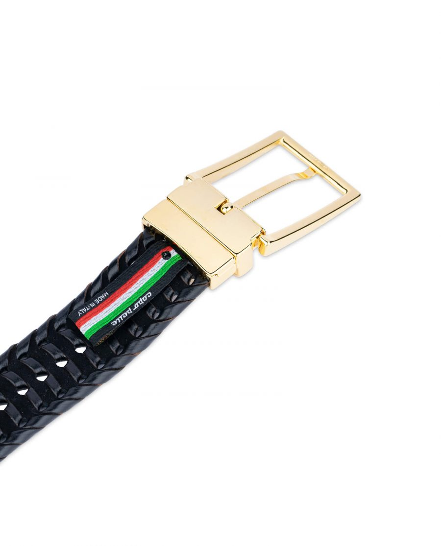 black woven mens belt with gold buckle 45usd 4