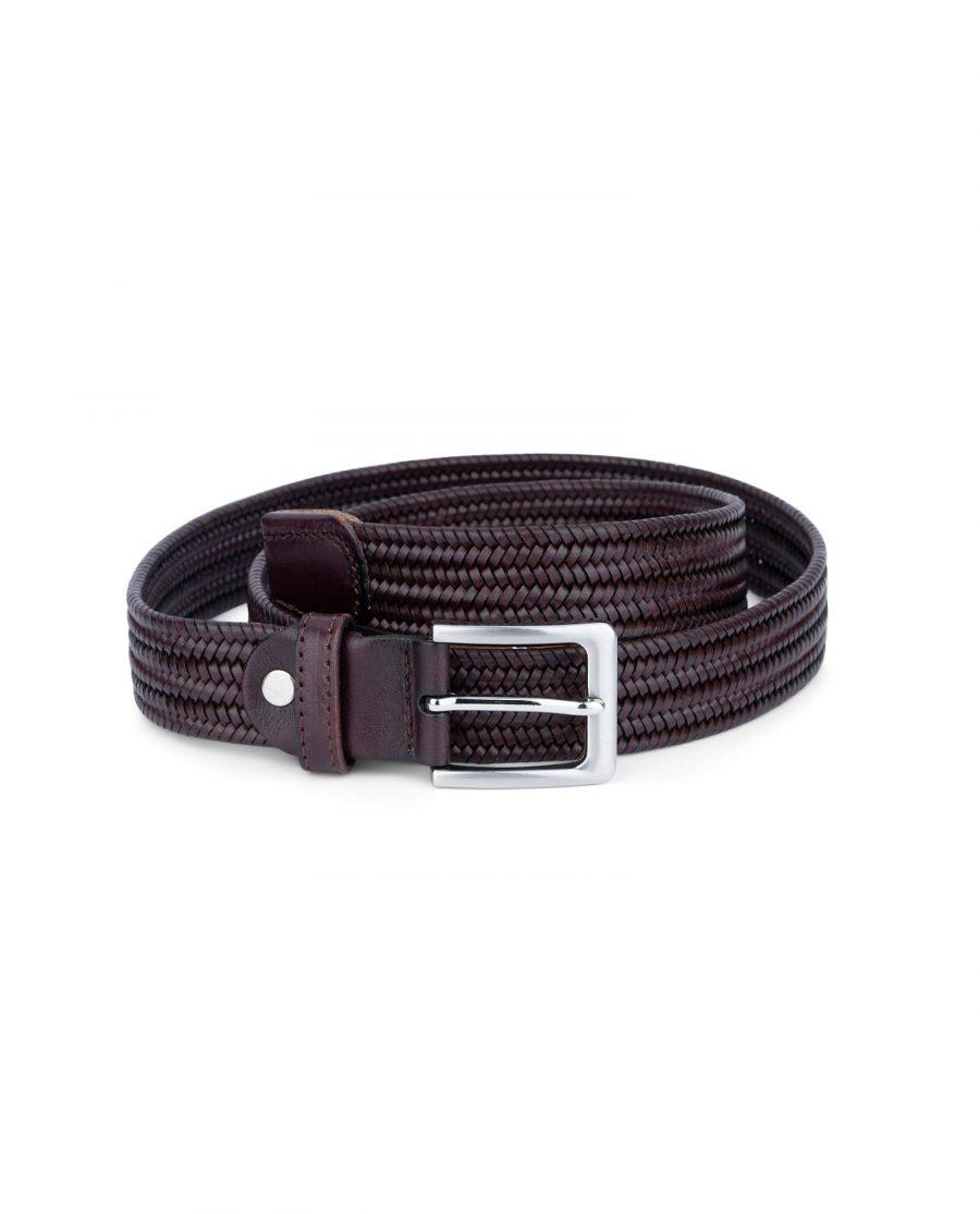 braided stretch belt cognac brown leather 45usd 1