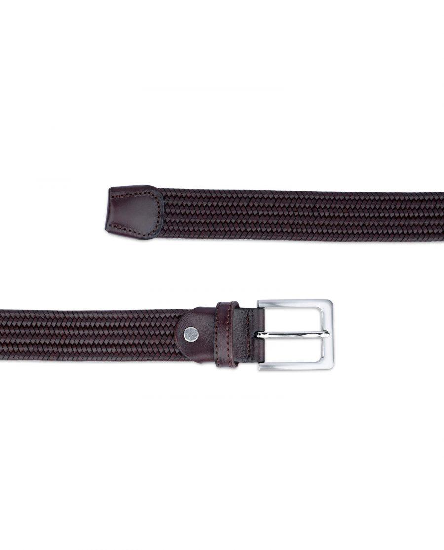braided stretch belt cognac brown leather 45usd 3