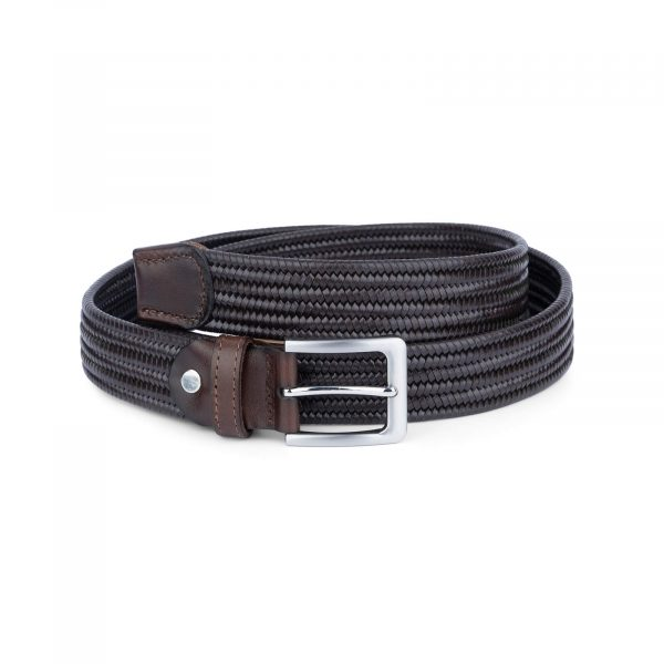 brown stretch woven leather belt for men 45usd 1