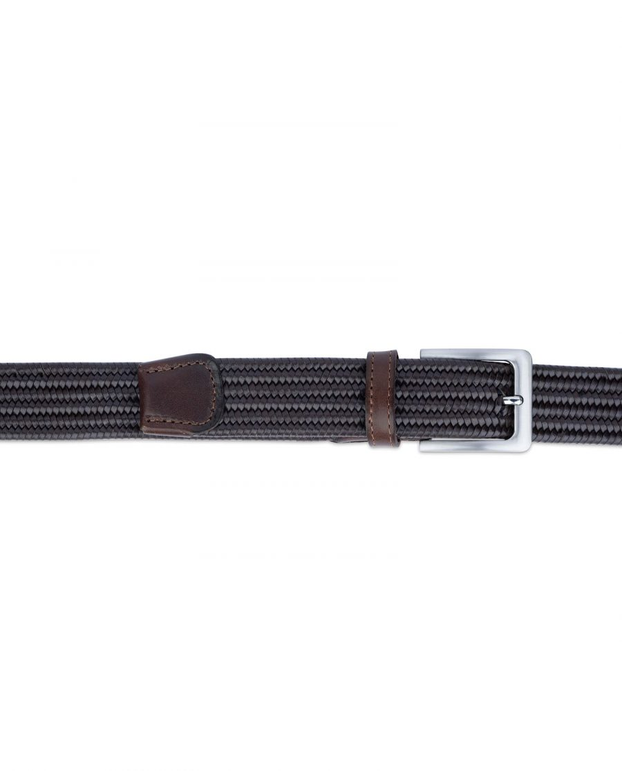 brown stretch woven leather belt for men 45usd 2