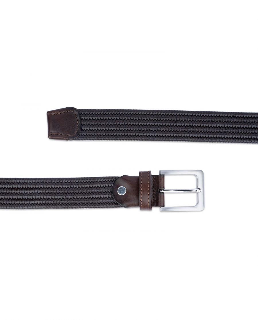 brown stretch woven leather belt for men 45usd 3