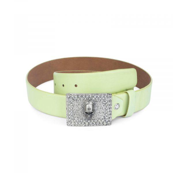green belt with skull buckle swarowski crystals 35 mm 1