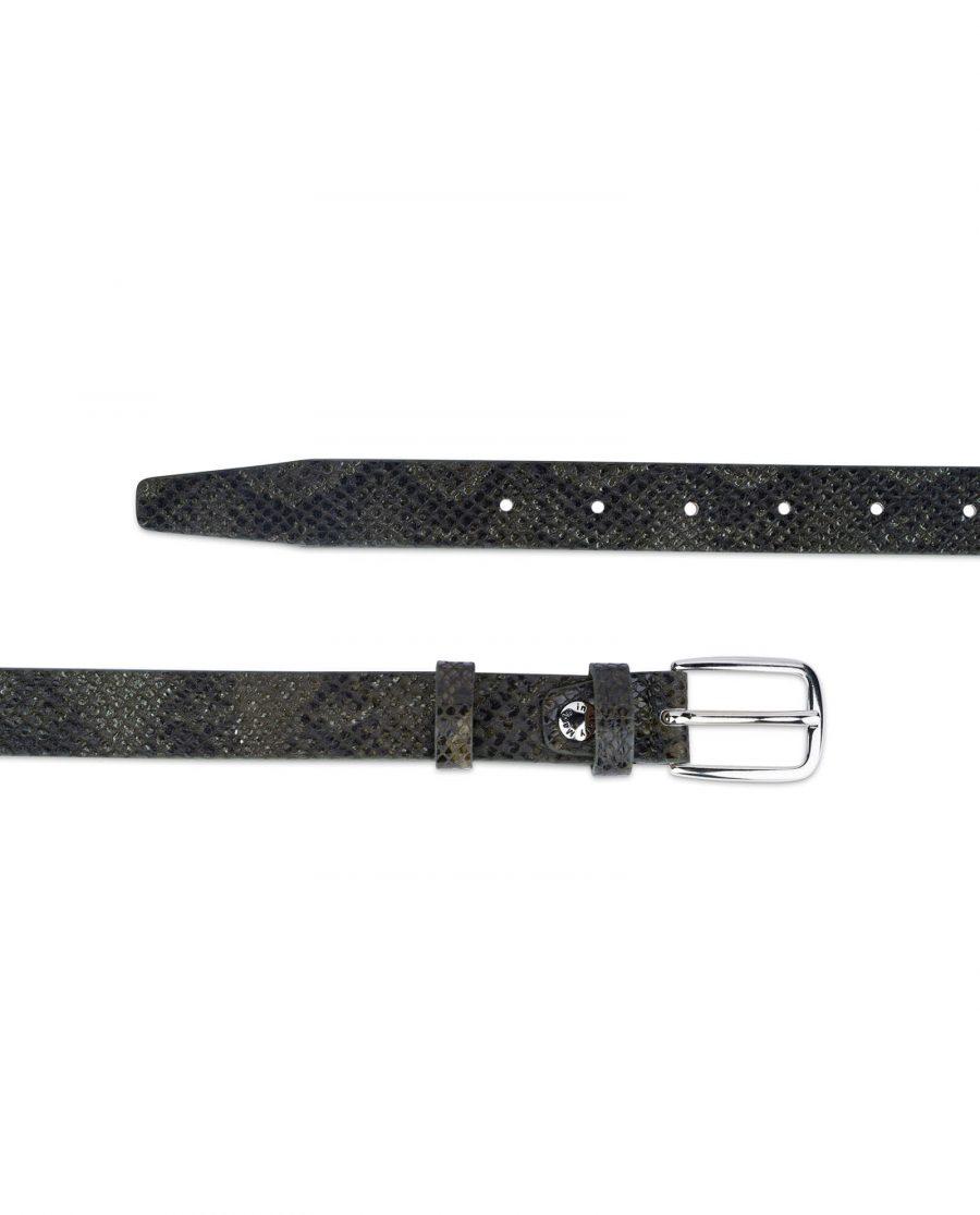 green snake print belt real leather 25 mm 2