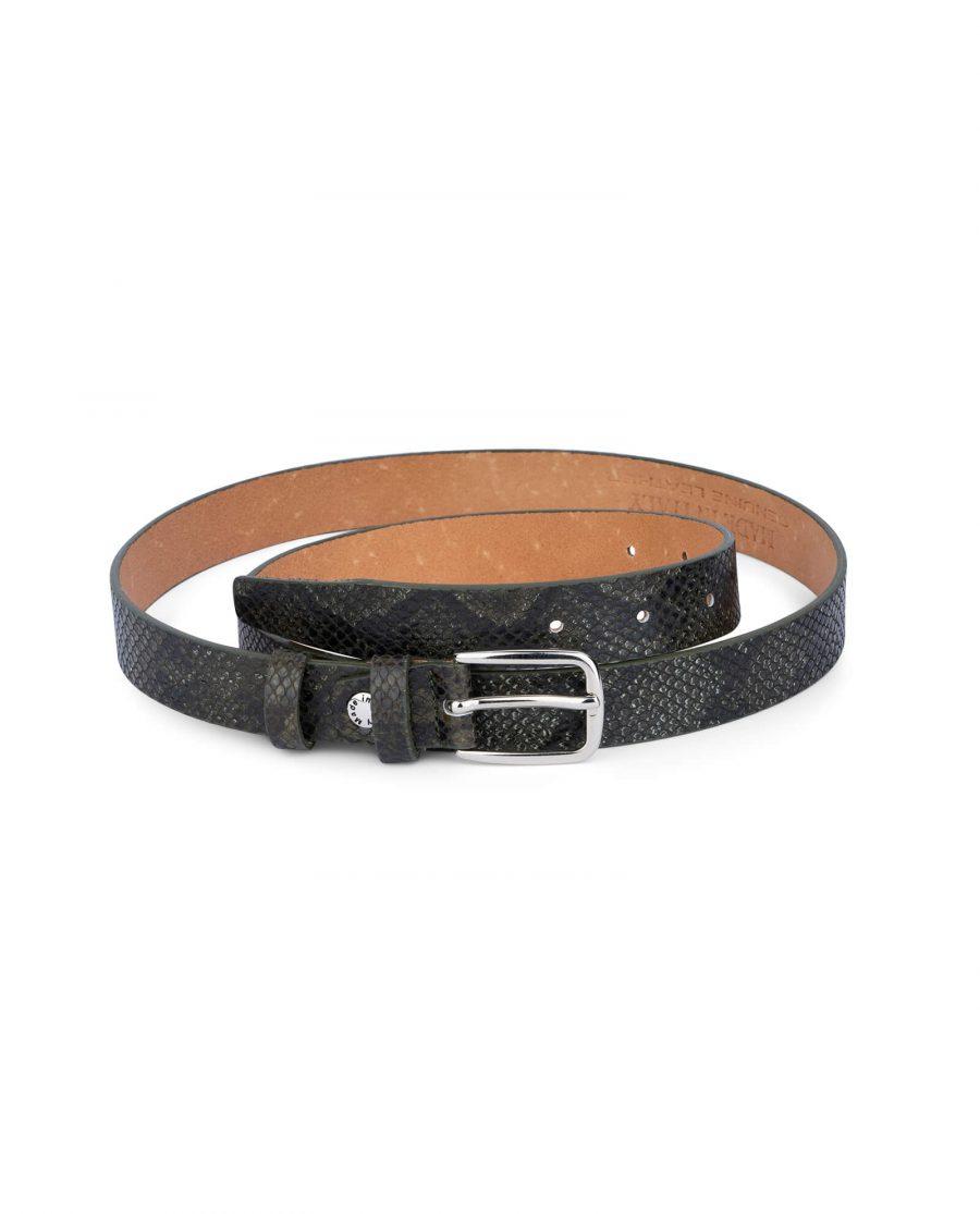 green snake print belt real leather 25 mm sz28 42 4
