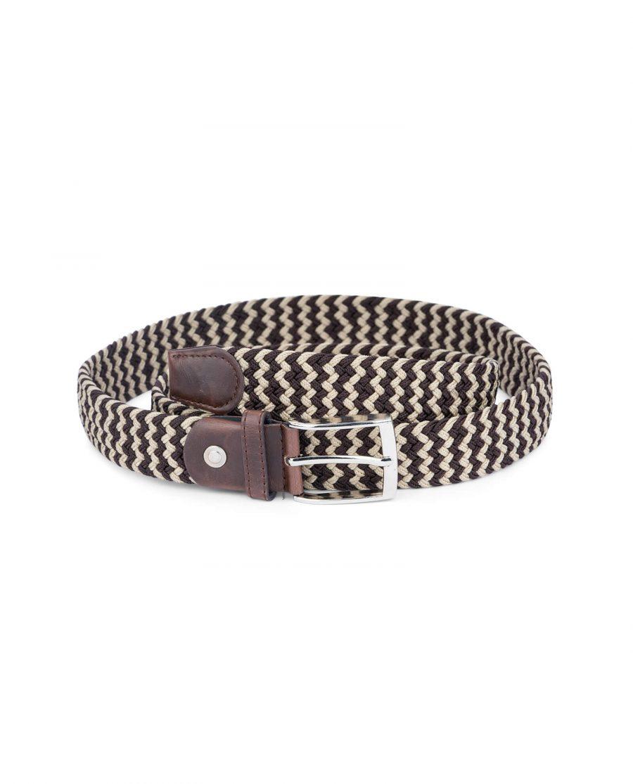 man elastic belt woven brown beige 19usd 1