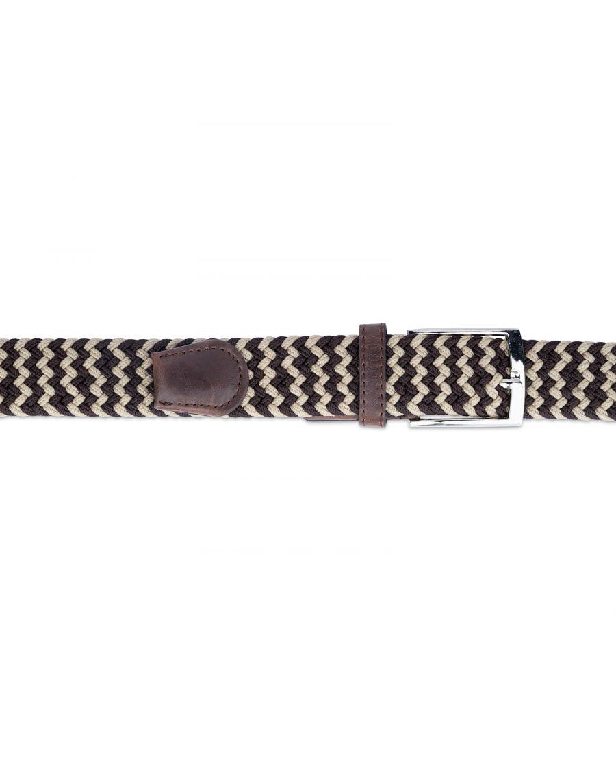 man elastic belt woven brown beige 19usd 2