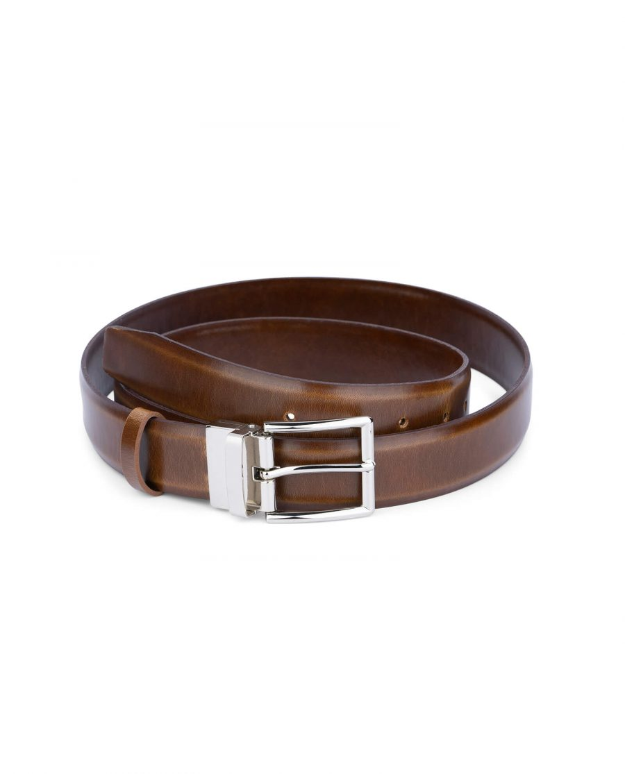 mens brown belt with silver buckle 35 mm 1