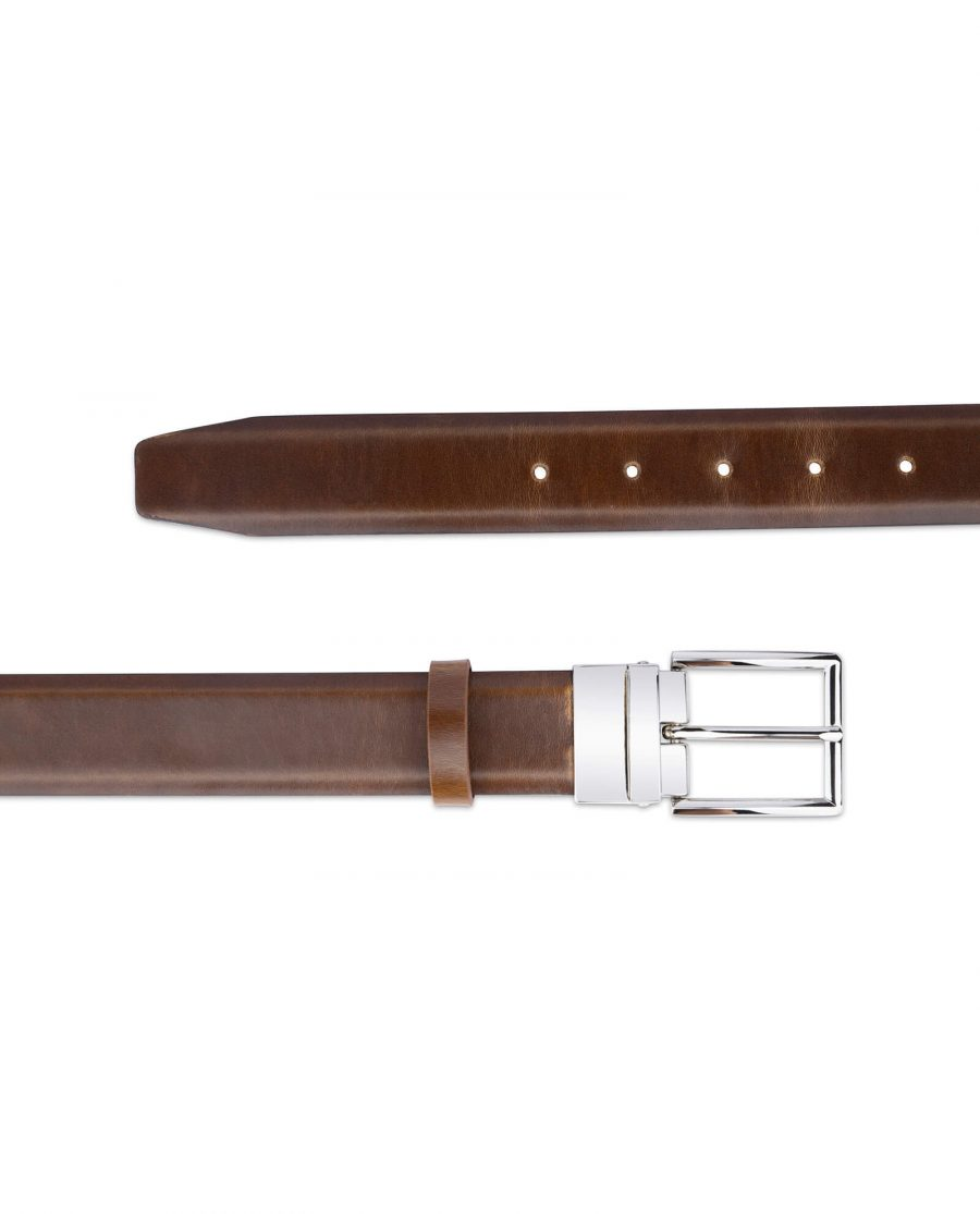 mens brown belt with silver buckle 35 mm 3