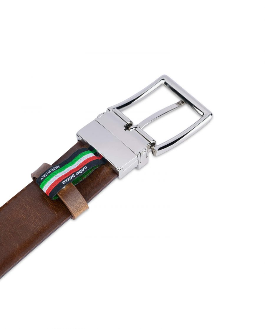 mens brown belt with silver buckle 35 mm sz28 44 4