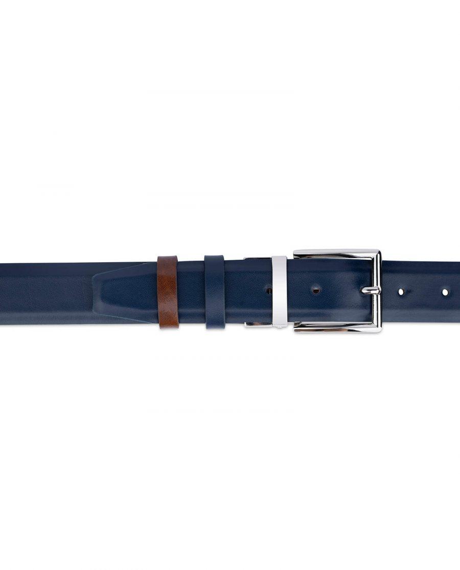 mens reversible vegan belt blue black 35 mm sz28 46 4