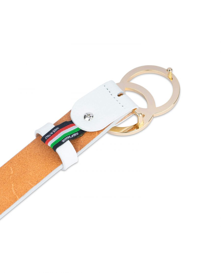 white double circle belt with gold buckle 35 mm 1