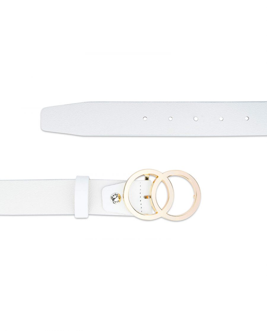 white double circle belt with gold buckle 35 mm 2