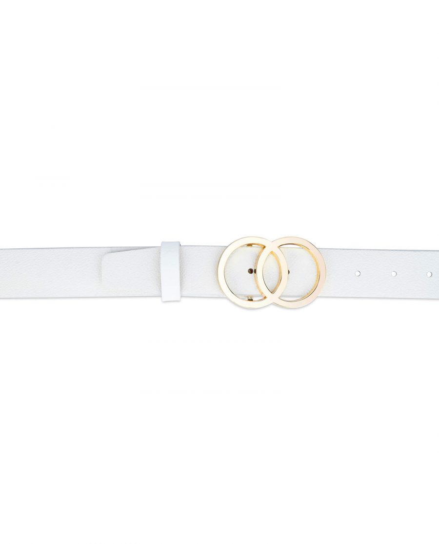 white double circle belt with gold buckle 35 mm 3