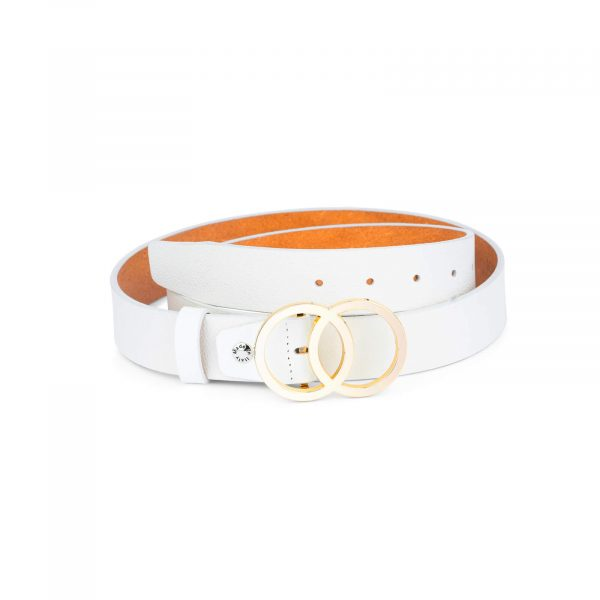 white double circle belt with gold buckle 35 mm sz28 50 4