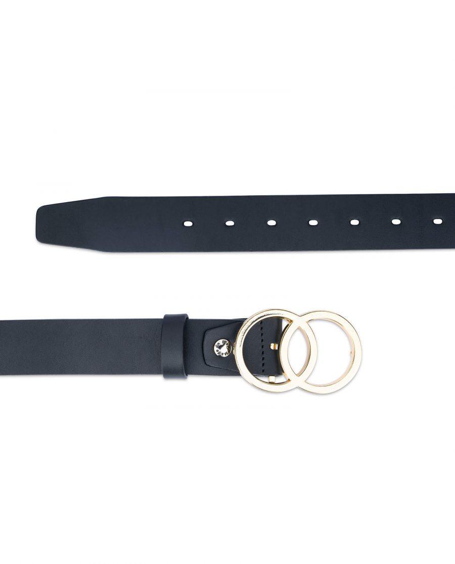 womens double circle belt silver buckle 40 mm full grain leather sz28 44 4