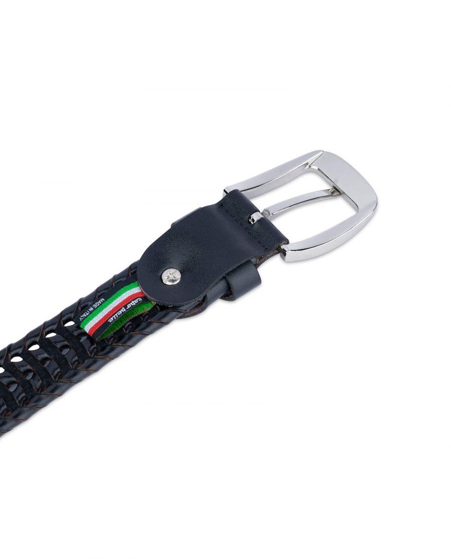 woven mens belt black leather 35usd 1