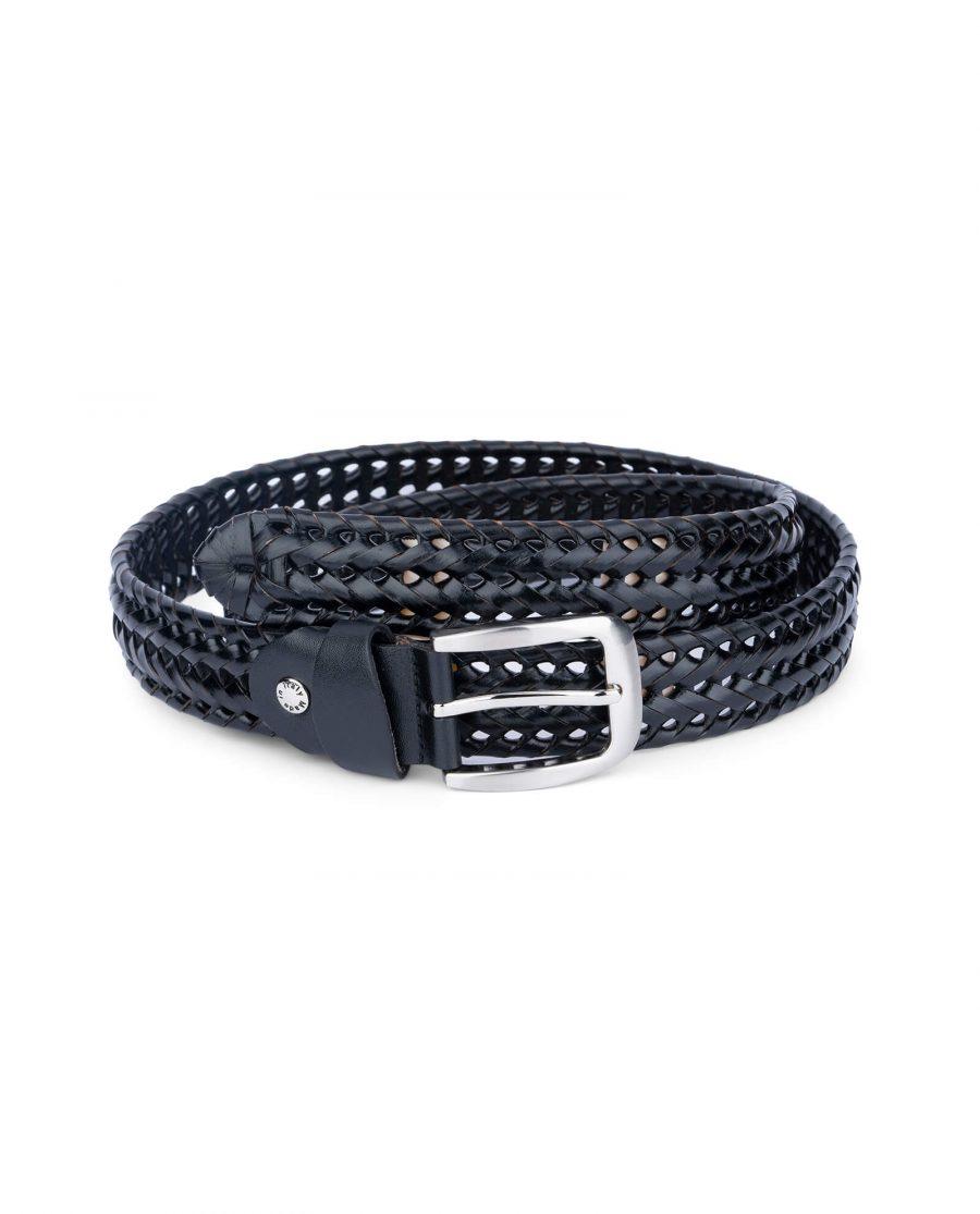 woven mens belt black leather 35usd 4